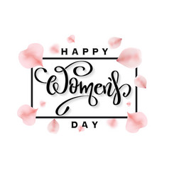 happy womens day banner with rose petals vector image