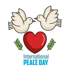 International peace day two pigeon together big vector