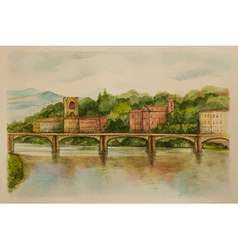 Italy Florence watercolor Views of the river and c vector image