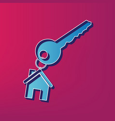 key with keychain as an house sign blue vector image