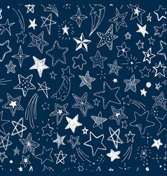 kids pattern with doodle textured stars seamless vector image