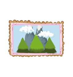 Landscape with snow mountain square frame vector