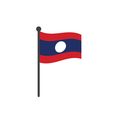 laos flag with pole icon isolated on white vector image