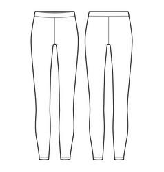 Leggings pants fashion flat sketch template vector