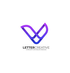 logo letter v creative gradient colorful style vector image
