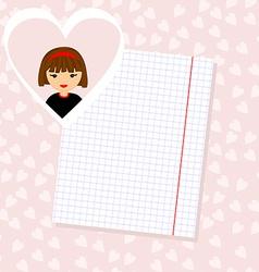 Love Letter Portrait of Girl in Heart Background vector