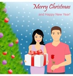 Man and woman at christmas tree vector