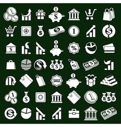 Money icons set finance theme simplistic symbols vector