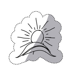 Monochrome contour sticker with hand drawn sun vector