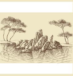 nature wallpaper rocks in sea hand drawing vector image