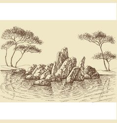 nature wallpaper rocks in the sea hand drawing vector image