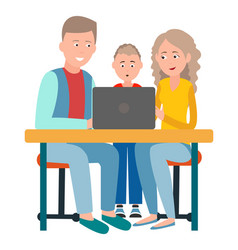 Parents and son sitting in front open laptop vector