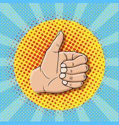 pop art like sign gesture thumb up hand vector image