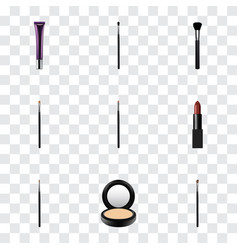 realistic make-up product brush contour style vector image