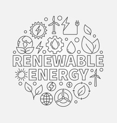 Renewable energy round outline vector