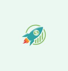 Rocket with dollar logo design template vector