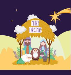 Sacred family sheep and donkey manger nativity vector