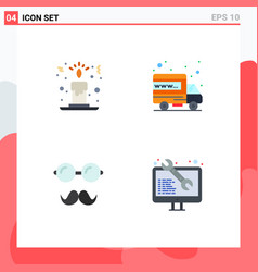 Set 4 commercial flat icons pack for candle vector