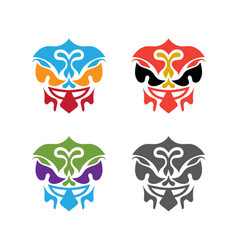 set abstract polynesian masks design template vector image