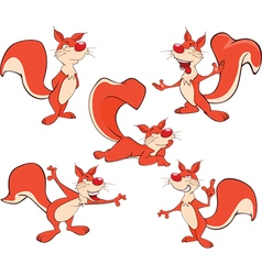 Set Cartoon Cute Squirrel vector