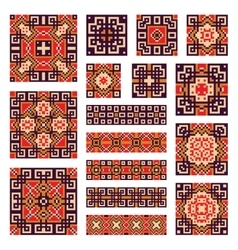 Set collections of geometrical borders and tiles vector