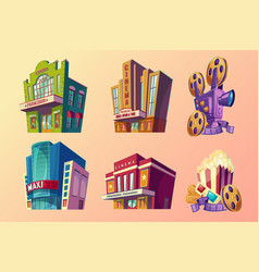 set isometric buildings vector image