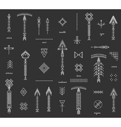 Set of geometric hipster shapes and arrows black vector image