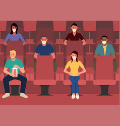 Spacing sitting in movie theater vector