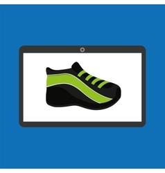 Sport laptop app concept sneaker run vector