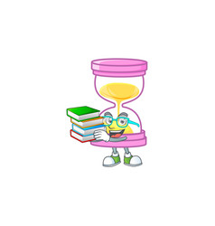 Student with book sandglass isolated with on white vector