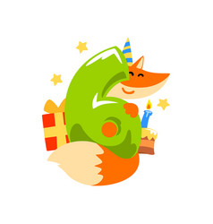 Sweet red fox in party hat and number six happy vector
