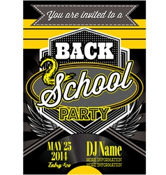 Template for a retro party back to school vector