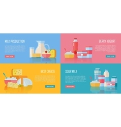 Traditional Dairy Products Banners Set vector