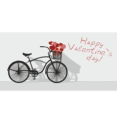 Valentines day and bicycle vector