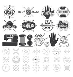 Vintage hand made logo labels badges and design vector