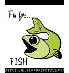 Vocabulary worksheet card with cartoon fish vector