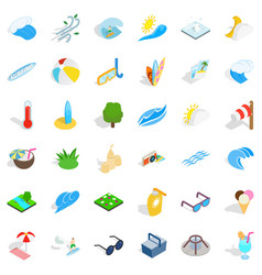 Water icons set isometric style vector