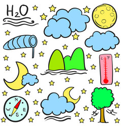 Weather cloud moon star doodles vector