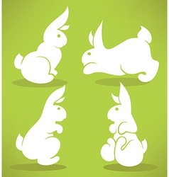 White rabbits vector