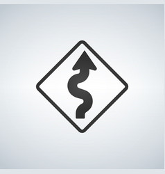 Winding curve road sign vector