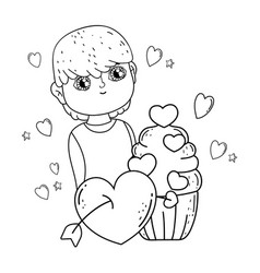 Young cute lover boy with cupcake vector