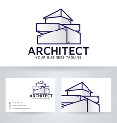 Architect company logo with business card vector