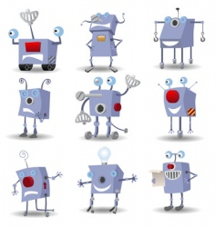 cartoon robots set vector image vector image