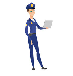 caucasian police woman using laptop vector image vector image