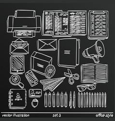 chalkboard sketch work style set 2 vector image