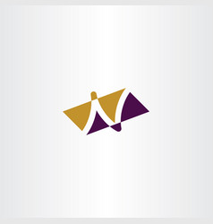 n letter purple yellow logo symbol vector image