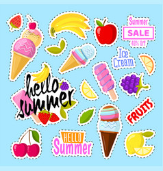 set of cute ice cream and fruits in the form of a vector image vector image