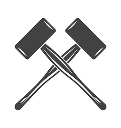 Two crossed big engineers hammers mallets spall vector