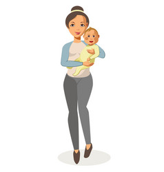 walking young mother holds baby isolated on white vector image vector image
