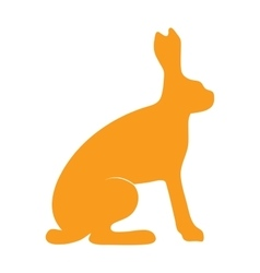 Wild hare rabbit animal flat silhouette vector image vector image